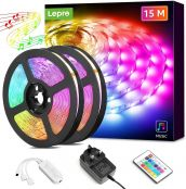 Lepro 15M LED Strip Lights Music Sync, RGB Color Changing, 450 Bright SMD5050 LEDs, Stick on LED Lights for Bedroom, Studio, Gym, Kids Room and More (2x7.5M, Dual Control) - Packaging May Vary