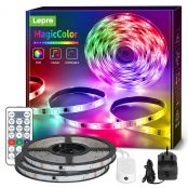 Lepro 10M Dreamcolor LED Strip Lights with Remote, Music Sync, RGBIC Rainbow Colour Changing, Waterproof LED Rope Light for Bedroom, Home Party, Gaming Room Decoration (2x5M, Stick-on, Plug-n-Play)