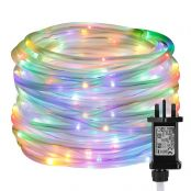 10m 100 LED Rope Lights, 8 Modes Waterproof Power Adapter Included RGBY String Lights for Garden, Patio, Party, Christmas, Outdoor Decoration