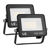 2 Pack 15W LED Security Light, Outdoor Flood Lights, Daylight White, 100W Halogen Equivalent