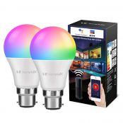 2 Pack 9W B22 Smart Bulb, Alexa Light Bulb, Wifi, RGB + Warm White, No Hub Required, 60W Incandescent Equivalent