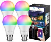 LE Alexa WiFi Smart Bulb B22, RGB Warm White LED Bayonet Bulbs, Works with Alexa and Google Home, APP or Voice Control, Dimmable Colour Changing, 9W = 60W, No Hub Required, Pack of 4 (2.4GHz Only)