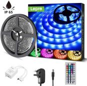 Lepro 5M Outdoor LED Strip Lights, IP65 Waterproof, Colour Changing and Dimmable with Remote, Bright 5050 LEDs, Plug and Play LED Rope Lights for Garden and Home Decoration