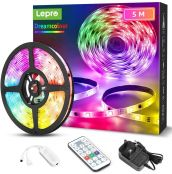 Lepro RGBIC LED Strip Lights 5M, Multi Colour Chasing Dreamcolour LED Light, 8 Dynamic Rainbow Effects, 6 Music Modes, 150 LEDs, IP65 Waterproof Light Strip with Remote and Plug