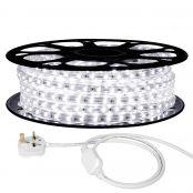 15M LED Strip Light, 220V-240V LED Tape Light, Super Bright 3528 SMD LEDs, Daylight White, IP65 Waterproof Outdoor Decorative Lighting Strings