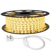 15M LED Strip Light, 220V-240V LED Tape Light, Super Bright 3528 SMD LEDs, Blue, IP65 Waterproof Outdoor Decorative Lighting Strings