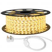 20M LED Strip Light, 220V-240V LED Tape Light, Super Bright 3528 SMD LEDs, Warm White, IP65 Waterproof Outdoor Decorative Lighting Strings