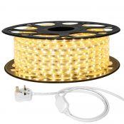 25M LED Strip Light, 220V-240V LED Tape Light, Super Bright 3528 SMD LEDs, Warm White, IP65 Waterproof Outdoor Decorative Lighting Strings