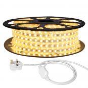 25M LED Strip Light, 220V-240V LED Tape Light, Super Bright 5050 SMD LEDs, Warm White, IP65 Waterproof Outdoor Decorative Lighting Strings