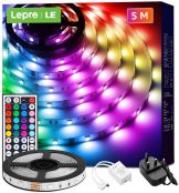 Lepro 5M LED Strip Lights with Remote, 5050 RGB Colour Changing, Plug and Play, Stick-on LED Light for Bedroom, Kitchen, Bar Decoration