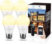 LE Smart Light Bulbs E27, Compatible with Alexa and Google Home, No Hub Requried, Pack of 4 (9W LED, Warm White 2700K, Dimmable via App or Voice, 2.4GHz WiFi)