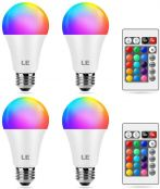 LE Colour Changing Light Bulb E27, Dimmable Screw LED Bulb, RGB & Warm White, 16 Colours, 9W = 60W, Mood Lights for Room Decorations, Birthday Party, Home Bar and More, Remote Control, Pack of 4