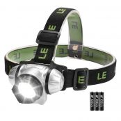 LE COB LED Head Torch, Lightweight and Comfortable, 140 Lumen, 4 Brightness Modes, Battery Powered, AAA Batteries Included