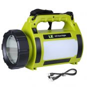 10W Rechargeable LED Searchlight, 1000lm Portable Flashlight, Dimmable Camping Spotlight, USB Cable Included