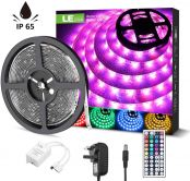 LE Waterproof LED Strips Lights, 5M RGB Colour Changing Light Strip with Remote and Power Plug, SMD 5050 LED Rope Lighting for Home Garden Party Decoration