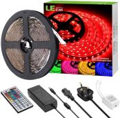 LE 5M 5050 RGB LED Strip Light Kit, 300 LED Tape with Remote and Power Supply, Colour Changing TV Backlight