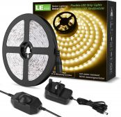 LE Warm White LED Strip Light 5M, 1200lm Dimmable Light Strip, 300 LEDs 3000K Flexible LED Tape for Bedroom Kitchen Cabinet Wardrobe Stair TV and More (12V Power Plug and Dimmer Switch Included)