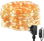 Lepro Christmas Fairy Lights Mains Powered, 10M 100 LED Warm White String Lights Plug in, Waterproof Copper Wire Lights for Indoor Outdoor, Wedding Decorations, Party, Bedroom, Garden and More