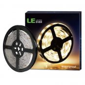LE 5M Waterproof LED Strips Lights, 300 Units SMD 2835 LED Tape, 1200lm, Warm White, 12V DC LED Ribbon, Outdoor Strip Lighting