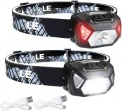 LE Head Torch, USB Rechargeable, Lightweight Headlamp, 6 Lighting Modes, Super Bright, Water Resistant, Battery Powered Headlight for Kids & Adults, Running, Fishing, Camping, Hiking, Reading and More