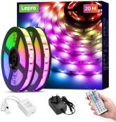 Lepro 20M Ultra-Long LED Strip Lights with Remote, Dimmable, RGB Colour Changing, Stick-on Ultra Long LED Light for Bedroom, Kitchen, Room Decoration (2 x 10M, Plug and Play, Bright 5050 LEDs)