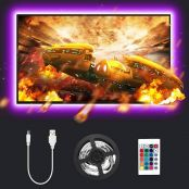 LE TV LED Backlights with Remote, 2M USB Powered Strip Lights for TV 32-65 inch, Dimmable RGB Mood Lights, SMD 5050 Bias Lighting for TV, Computer, Gaming Monitor and More (4 pcs x 50cm)