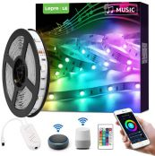 Lepro LED Strip Lights with Remote, Alexa Voice Control, Sync with Music, App Control, Compatible with Alexa, Google Home, 5m LED Strip Light, Decoration for House, Wedding Party and More(2.4GHz Only)