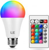 LE Colour Changing Light Bulb E27, Dimmable Screw LED Bulb, RGB & Warm White, 16 Colours, 9W = 60W, Mood Lights for Room Decorations, Birthday Party, Home Bar and More, Remote Control Included