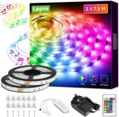 Lepro 15M Music Sync LED Strip Lights, Sensitive Built-in Mic, Colour Changing & Dimmable with Remote, 5050 RGB LED Lights for Bedroom, Party Decoration (2x7.5M, Stick-on, Plug-n-Play)