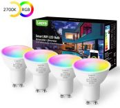 Lepro WiFi Smart Bulbs GU10, RGB Warm White LED Bulb, Compatible with Alexa and Google Home, APP or Voice Control, Dimmable, Colour Changing, 4.5W = 50W, No Hub Required, Pack of 4 (2.4GHz Only)