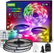 Lepro 15M Dreamcolor LED Strip Lights, Music Sync, RGBIC Rainbow Colour Changing, IP65 Waterproof Rope Light for Bedroom, Home Party, Gaming Room Decoration (2x7.5M, Stick-on, Plug-n-Play)