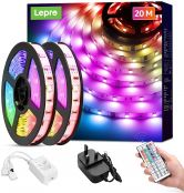 Lepro 20M LED Strip Lights with Remote, RGB Colour Changing, Dimmable Strip Lighting, Long Plug in LED Lights for Bedroom, Kitchen, Daughters Room (2 x 10M, Stick on, 600 Bright 5050 LEDs)