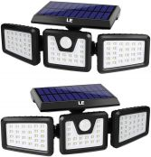 LE Solar Lights Outdoor, Easy to Install, Solar Lights with Motion Sensor, Suit for Front Door, Back Garden, Garage, Yard and More, Pack of 2