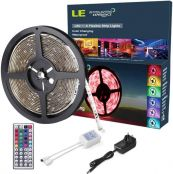 LE Waterproof 5M RGB Light Strip Kit, Colour Changing, Dimmable, 150 SMD 5050 LED Tape, Power Supply and Remote Controller Included
