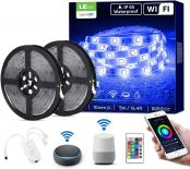 LE LED Strip Lights with Remote 10m, Alexa Voice Control, Lampux Smart WiFi Wireless APP Control, Work with Alexa & Google Home, IP65 Waterproof, Decoration for Wedding, Party and More (2.4GHz Only)