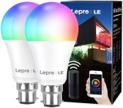 Lepro WiFi Smart Bulbs B22, APP or Voice Control LED Bayonet Bulbs, Compatible with Alexa and Google Home, RGB + Warm to Cool White, Dimmable, 9W = 60W, No Hub Required, Pack of 2 (2.4GHz Only)