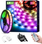 LE 5M LED Strip Lights with Remote, Dimmable, RGB Colour Changing, Stick-on LED Lights for Bedroom, Kitchen, Room Decoration (Plug and Play, Bright 5050 LEDs)