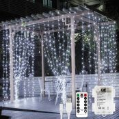 Lepro Fairy Curtain Lights, USB or Battery Powered Cool White Christmas Lights, 8 Modes 3m*3m 300 LED Indoor Outdoor String Lights for Christmas Decorations, Gazebo, Wedding, Remote Included