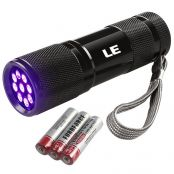 LE UV Torch, 9 LED 395nm Ultraviolet Flashlight, Blacklight Detector for Pet Urine, Stain, Bed Bugs and More, 3 AAA Batteries Included