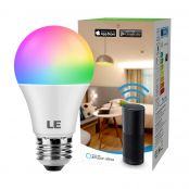 LE WiFi Smart Bulb E27 RGBCW, Work with Alexa (Echo, Echo Dot), Google Home and IFTTT, RGB and White (2700K-6500K), No Gateway Required (850lm, 9W, 60W Equivalent)
