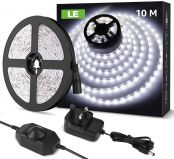 LE 10M LED Strip Lights, Daylight White 6000K, Dimmable & Flexible, Plug and Play LED Tape Light for Kitchen, Cabinet, Christmas and More, 24V Power Supply and Dimmer Switch Included