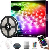 Lepro LED Strip Lights with Remote, Alexa Voice-Control, APP Control, Compatible with Alexa & Google Home, 5M RGB LED Strip Light, Decoration for House, Wedding Party and More(2.4GHz Only)