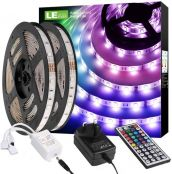 LE Waterproof LED Lights Strip 10M, Dimmable, RGB Colour Changing, SMD 5050 LED Rope Lighting for Indoor and Outdoor Decoration (2 x 5 Metres)
