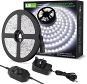 LE Daylight White LED Strip Light 5M, 300 LEDs, Dimmable 1200lm Bright Light Strip, 6000K Cool White Stick-on LED Tape for Home Kitchen Bedroom and More (12V Power Plug and Dimmer Switch Included)