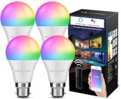 LE Alexa WiFi Smart Bulbs Bayonet B22 RGBW, Works with Alexa and Google Home, No Hub Required, Pack of 4 (9W LED, RGB + Warm White, Dimmable via App or Voice)