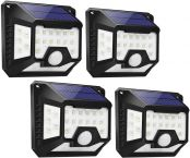 LE Solar Lights Outdoor, 32 LED 270° Wide Angle, Four-Sided Lighting, Waterproof, Easy to Install, Solar Lights with Motion Sensor, Suit for Front Door, Back Garden, Garage, Yard and More, Pack of 4