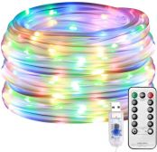 Lepro Multi Coloured Christmas Rope Lights, 10M 100 LED RGB USB Fairy Lights, Low Voltage, 8 Modes/Timer/Remote, Waterproof Indoor Outdoor Sensory String Lights for Garden, Christmas Tree and More