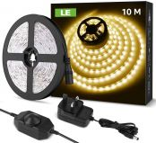 LE 10M LED Strip Lights, Warm White 3000K, Dimmable & Flexible, Plug and Play LED Tape Light for Bedroom, Kitchen, Christmas and More, 24V Power Supply and Dimmer Switch Included