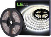 LE Bright LED Strips Lights 5M, 3600 Lumen, 300 SMD 5050 LEDs, Daylight White, 12V Light Strip for Kitchen Cabinet, Bookcase, Mirror and More