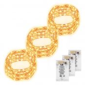 3 Pack 60 LED 6M String Lights Battery Powered Copper Wire Fairy Starry Lights Waterproof Firefly Lights